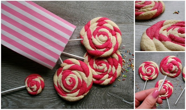 Pink Lollipop Cookies