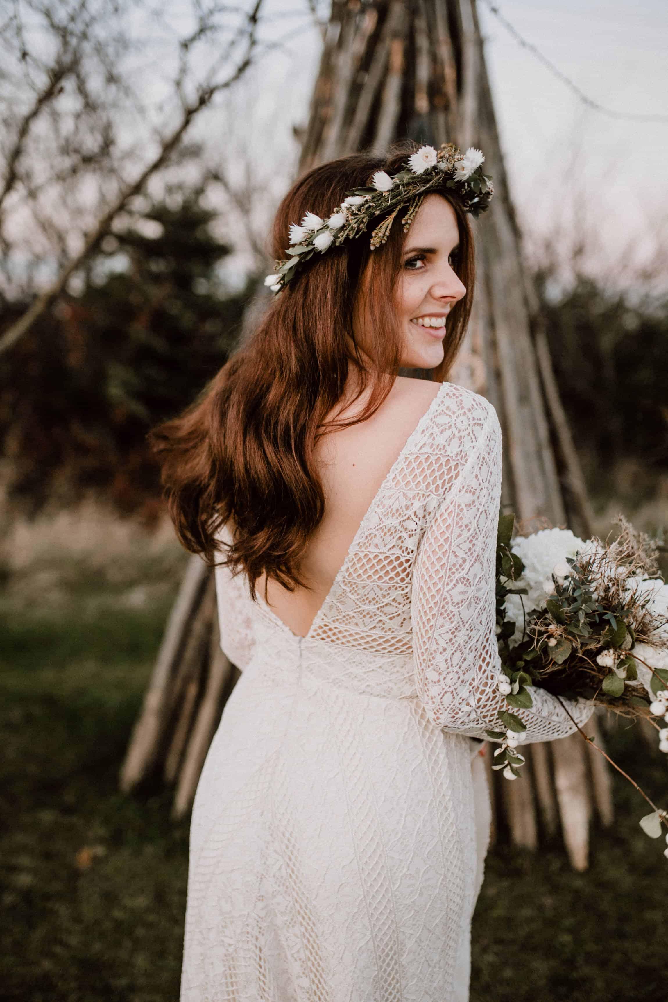 Schlichter Braut Blumenkranz