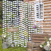 Rustic Country Partyvorhang Blumen weiss