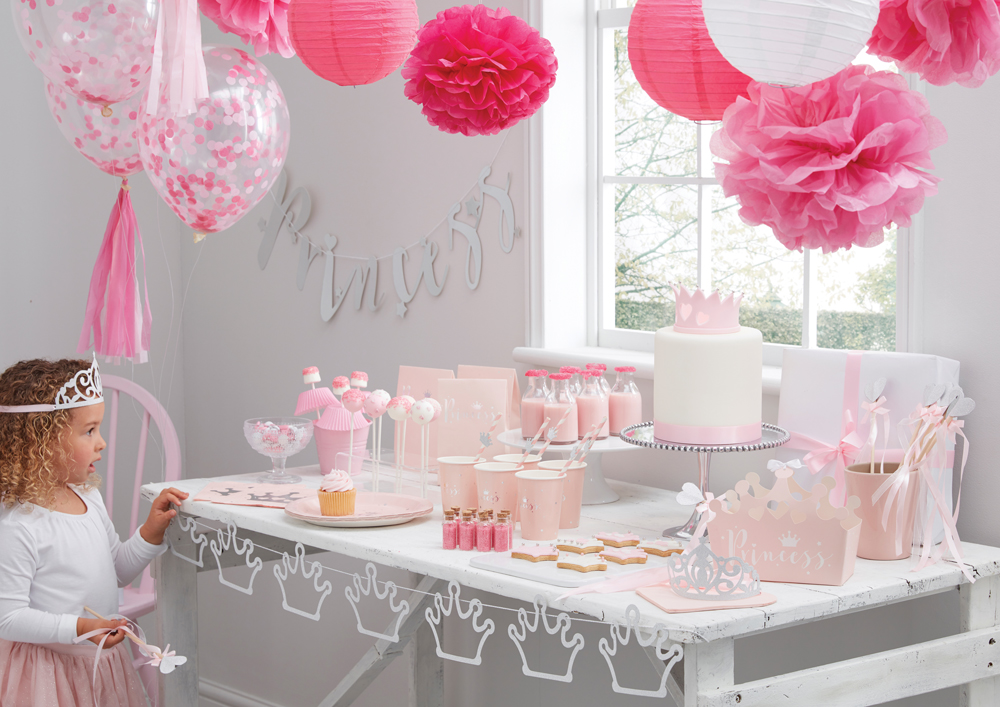 Party deko f r hochzeit und kindergeburtstag party princess for Baby shower party deko