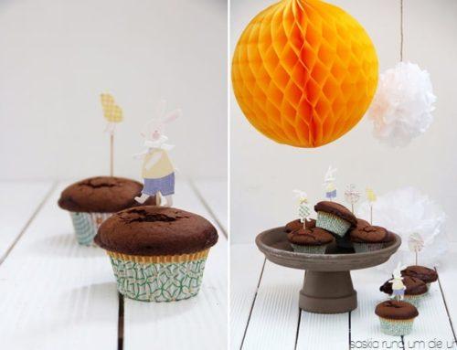 Schoko Muffins im Osterkleid