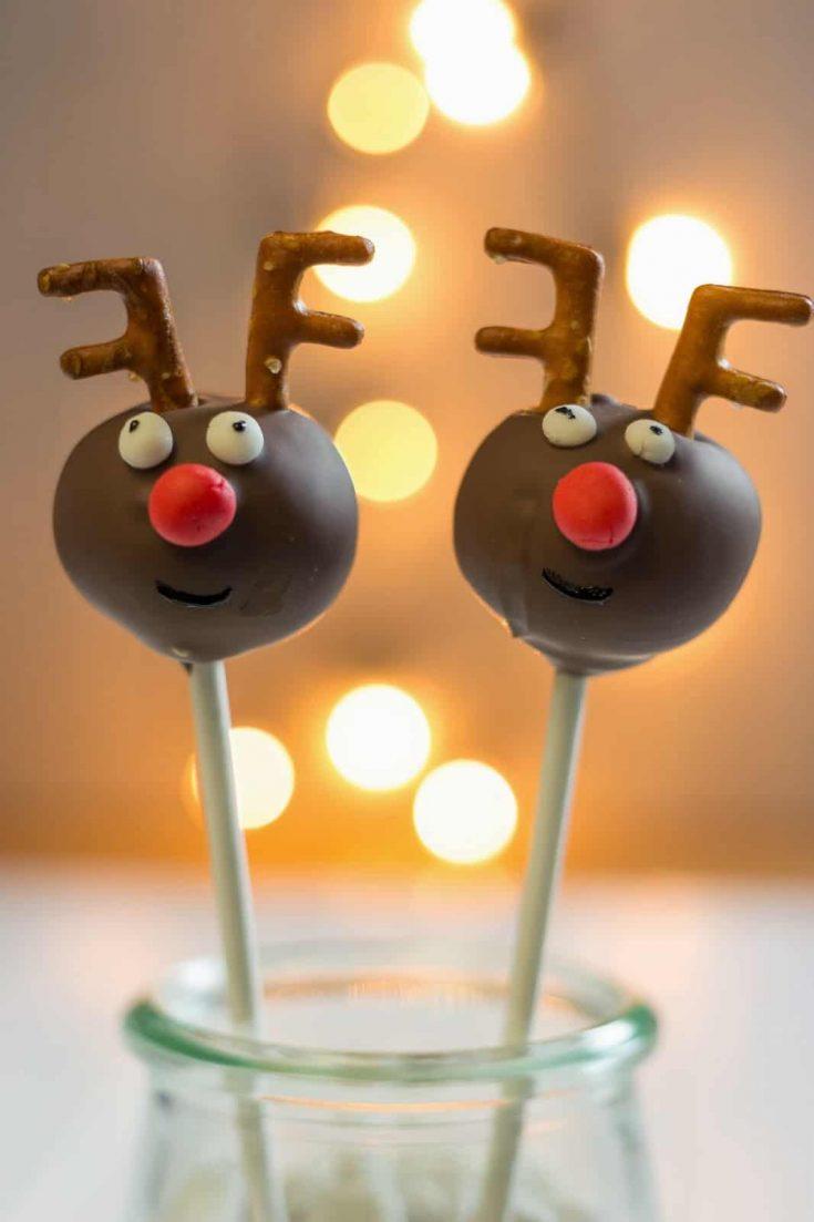 Rentier Cakepops Rezept zu Weihnachten