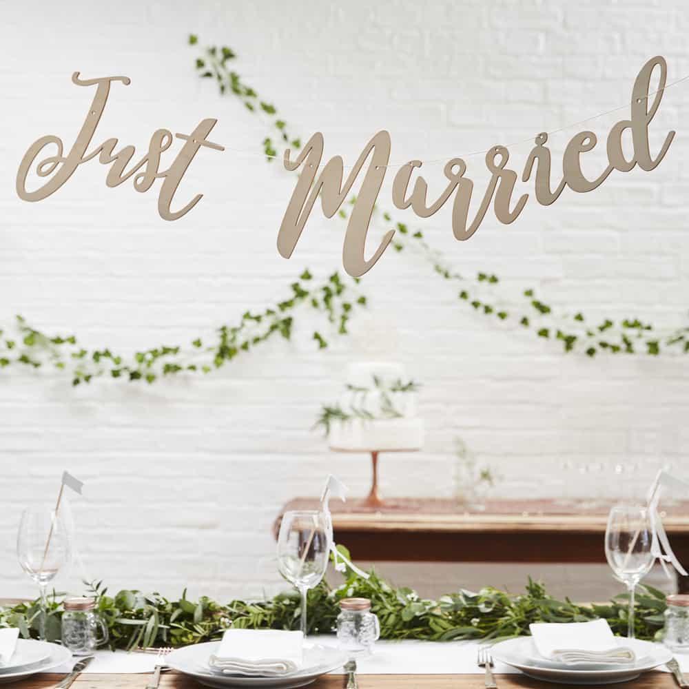 Girlande Holz Just Married