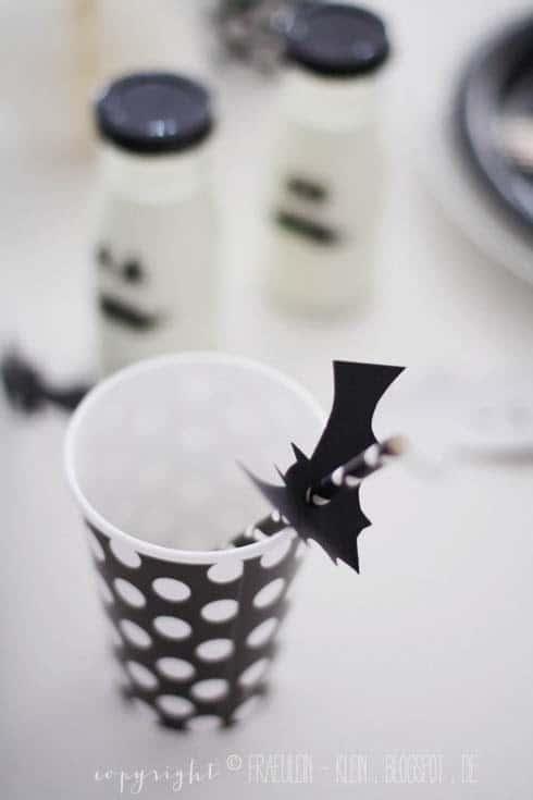Halloween Becher mit Strohalm