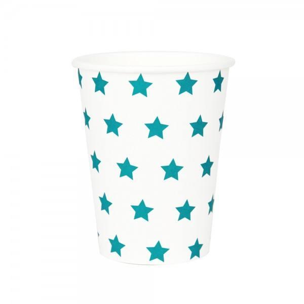 Becher türkisblau Sterne