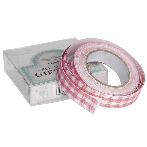 Stoffklebeband rosa Karo
