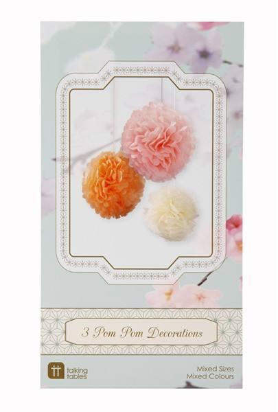3er Pom Pom Set Pastel Mix