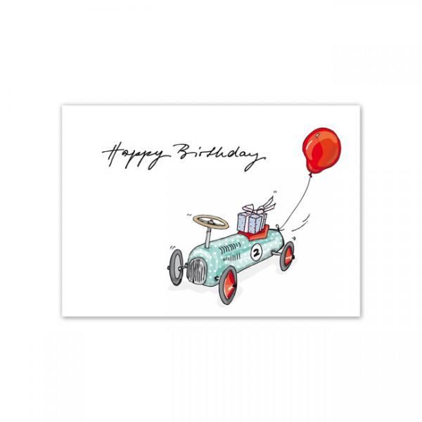 Krima & Isa Postkarte Wagen Birthday