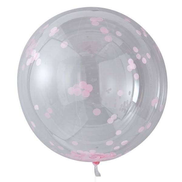 Riesenballon Set Confetti rosa