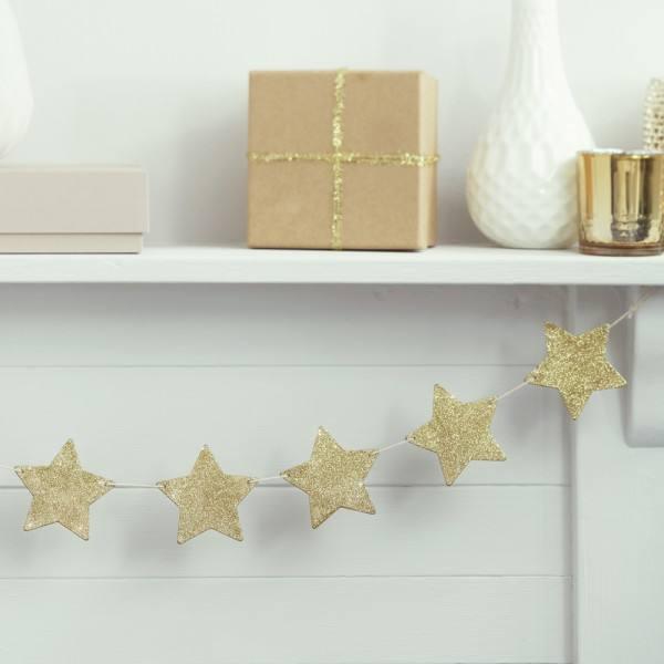 Metallic Star - Girlande Sterne gold