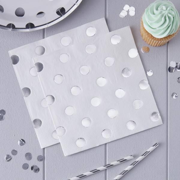 Pick & Mix Servietten Silberpunkte
