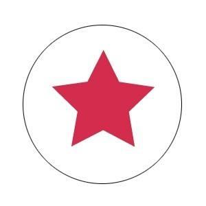 Aufkleber groß Stern weiss mit rot