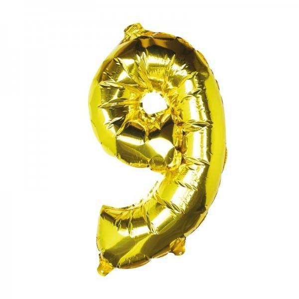 Ballon gold Zahl 9