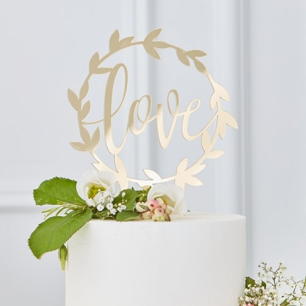 Gold Wedding Tortendeko Love gold