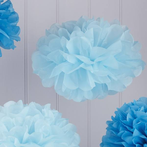 Vintage Lace Pom Pom Set blau