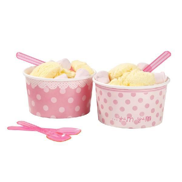 Pink - Eisbecher und Löffel