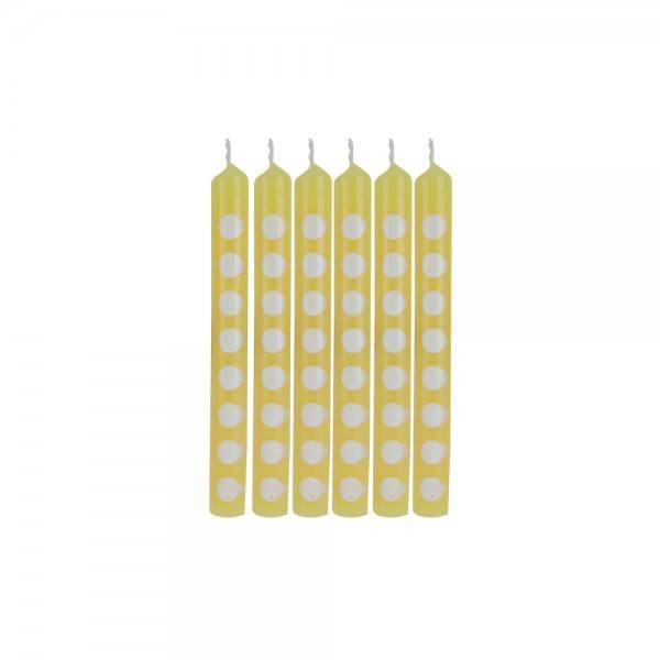Mini Kerzen Punkte gelb