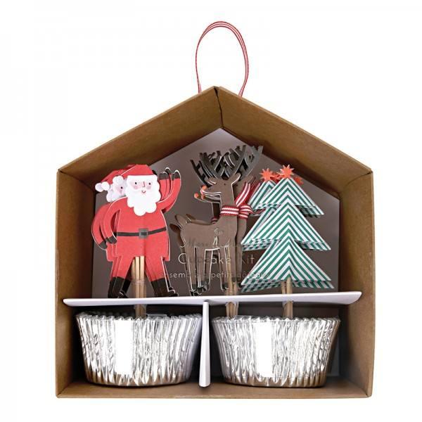 Meri Meri - Cupcake Set Weihnachten silber
