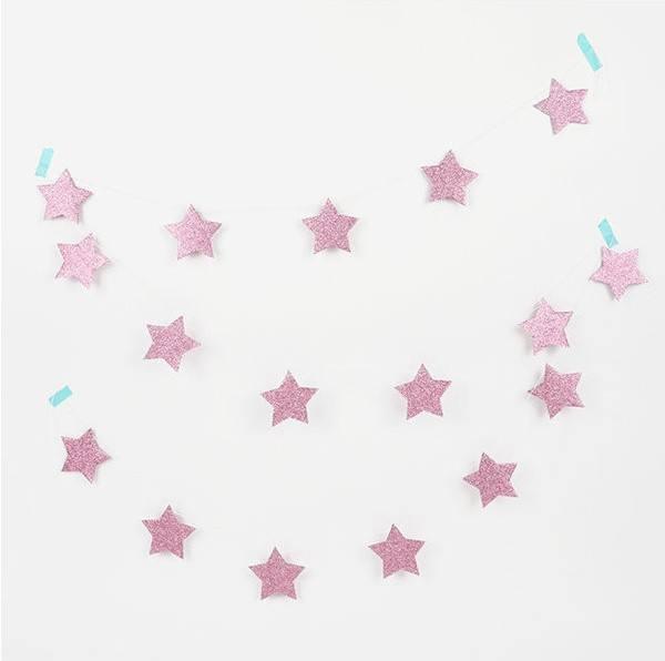 Girlande Set Sterne Glitzer rosa