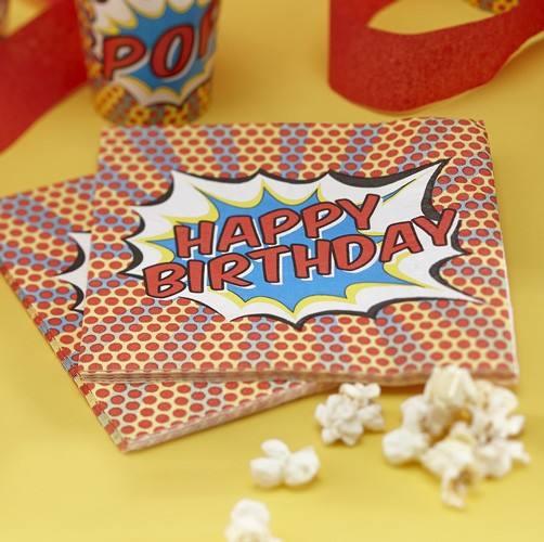 Pop Art Super Hero Servietten Birthday