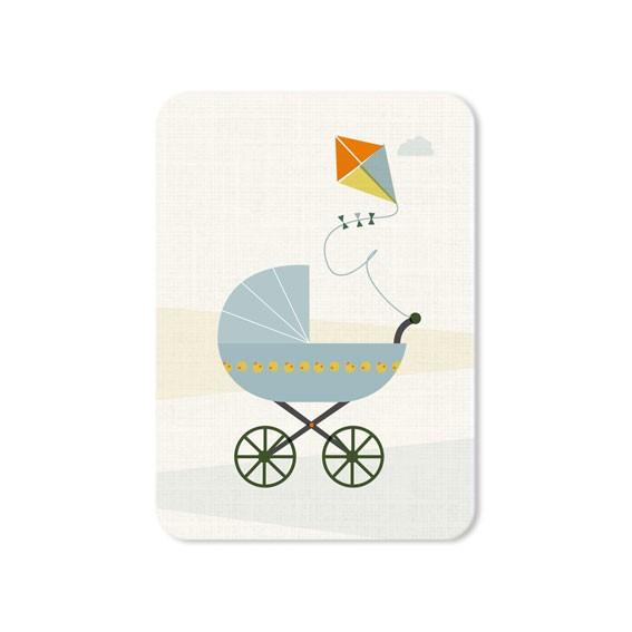 Postkarte runde Ecken Kinderwagen