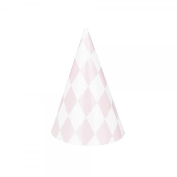 Partyhüte Set rosa Raute