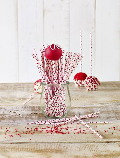 Cake Pops Stiele rot Punkte