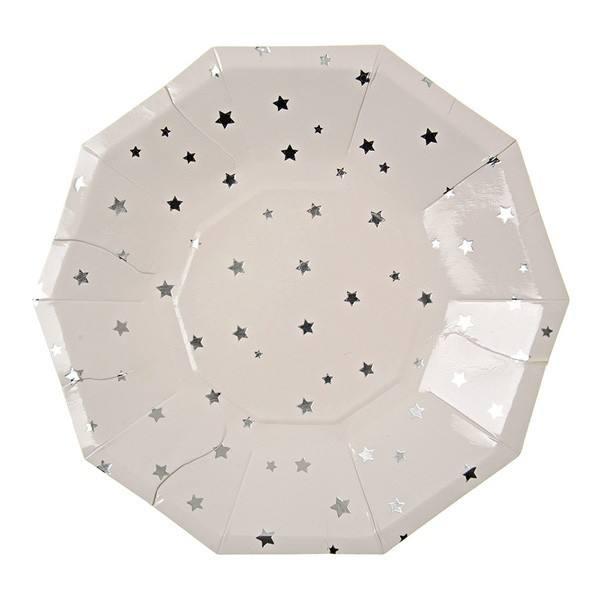 Meri Meri - Pappteller Sterne silber