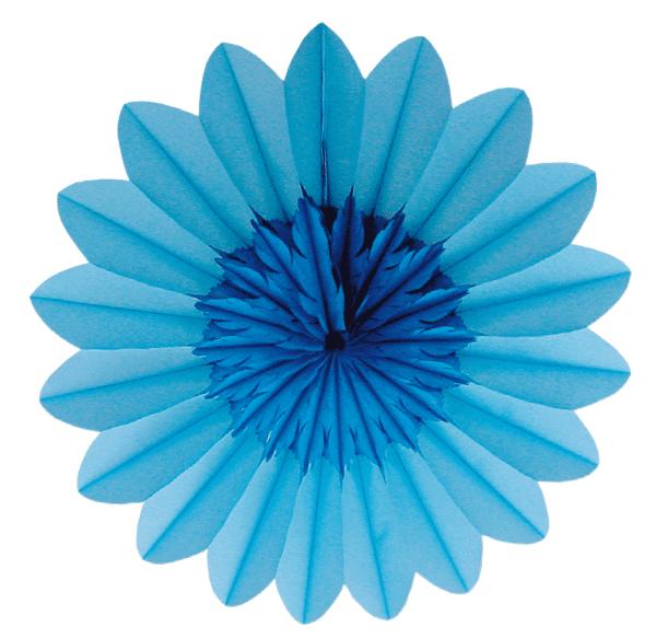 Blumen Rosette 50 cm hellblau/blau