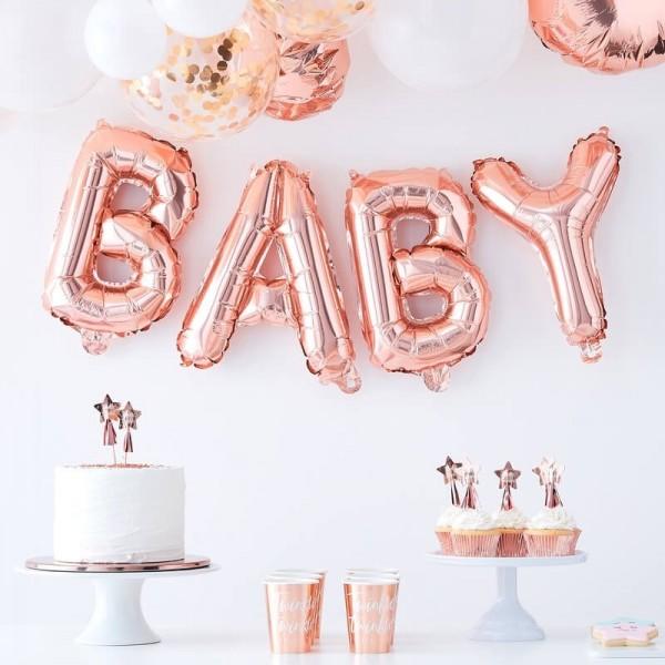 Ballongirlande Baby rosegold