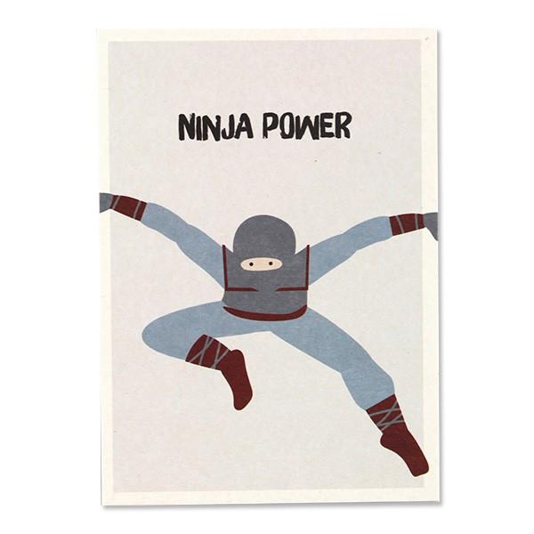 Ava & Yves Postkarte Ninja