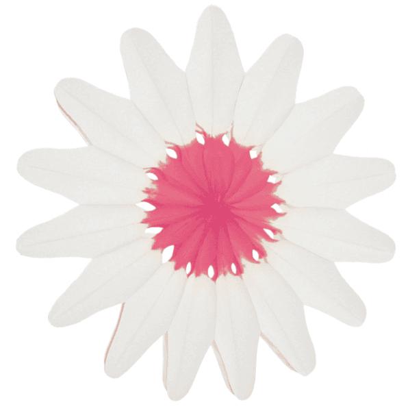 Papier Rosette Blüte weiss/rosa