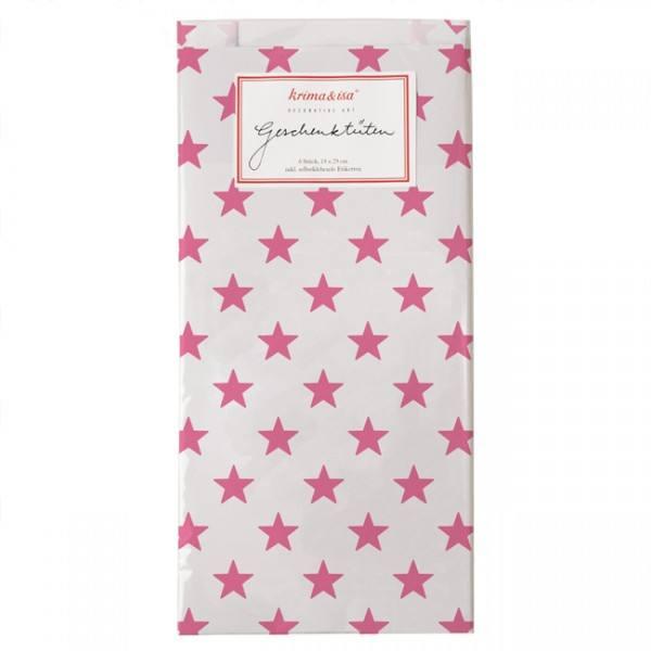 Krima & Isa Geschenktüten Sterne weiss/pink