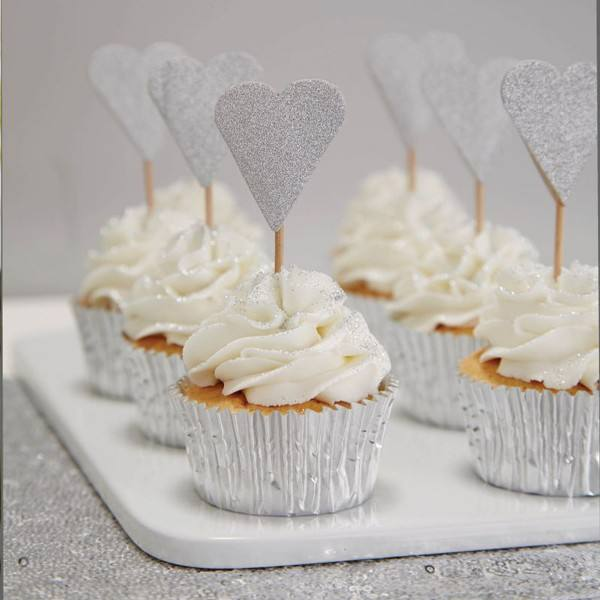 Metallic Perfection - Cupcake Topper Herz silber