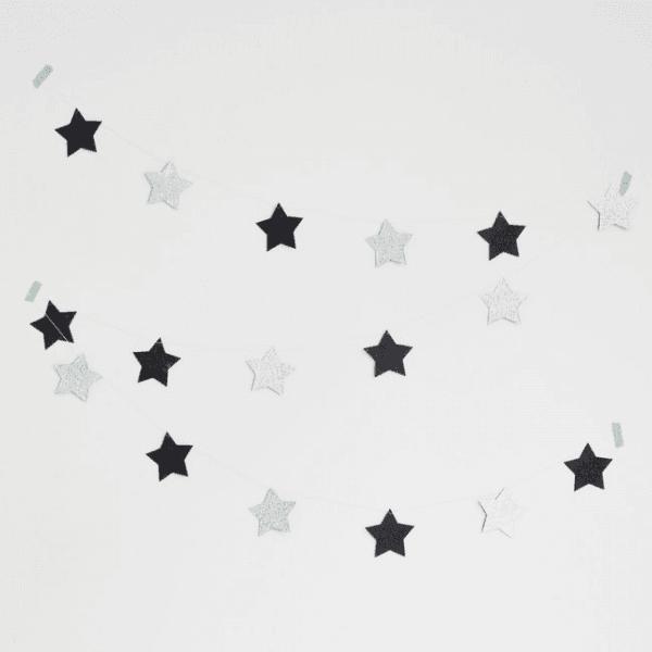 Girlande Set Sterne Glitzer silber - schwarz
