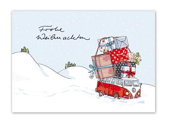 Krima & Isa Postkarte Weihnachtsbus