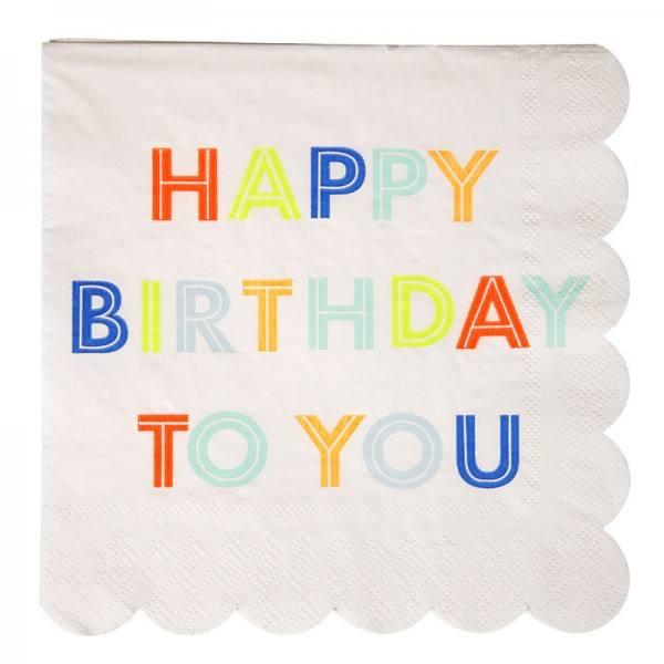 Meri Meri - Servietten Happy Birthday Schrift