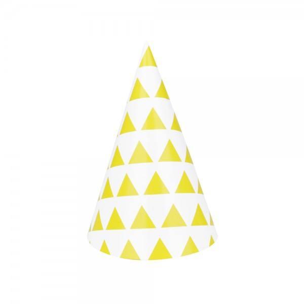 Partyhüte Set gelb Dreieck