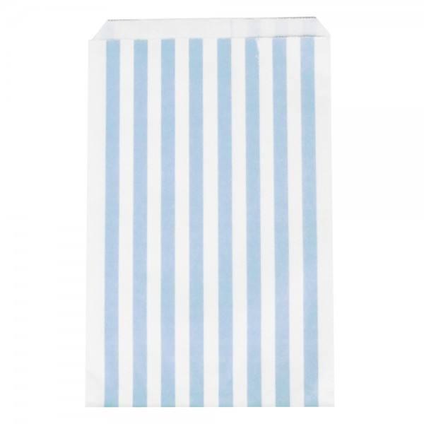 Papiertüten Set Streifen hellblau
