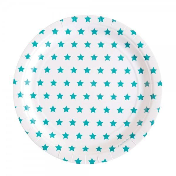 Teller türkisblau Sterne