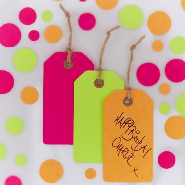 Happy Birthday Neon Geschenkanhänger