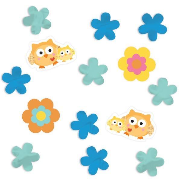 Konfetti Eulen und Blumen
