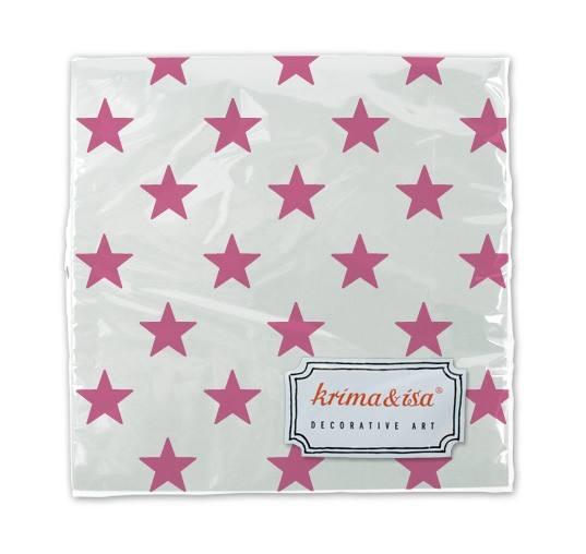 Krima & Isa - Servietten Sterne weiss/pink