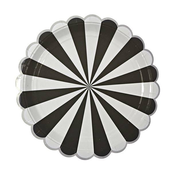 Meri Meri - Pappteller Schwarz Streifen