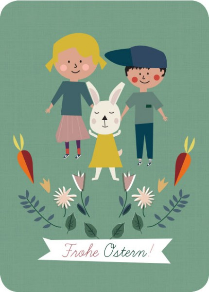 Postkarte runde Ecken Frohe Ostern