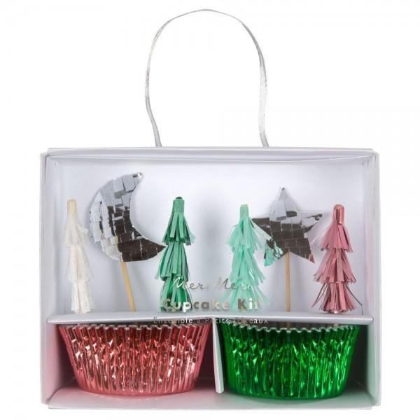 Meri Meri - Cupcake Set Weihnachten Baum bunt