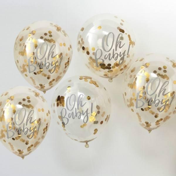 Oh Baby Ballons Konfetti gold