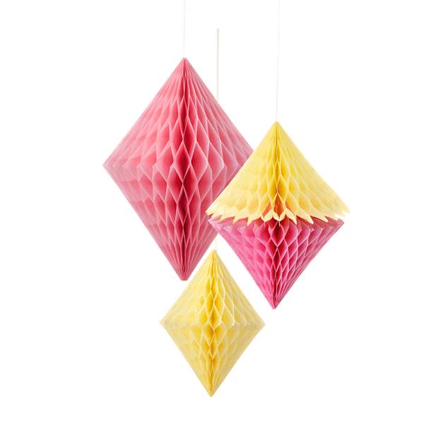 Wabenballset Diamond pink-gelb