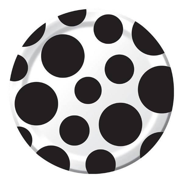 Teller Punkte Chevron klein schwarz