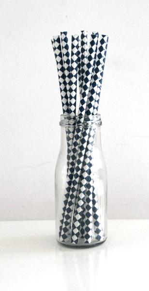 Strohhalme Raute dunkelblau
